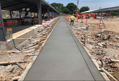 Sidewalk poured for Shed 1